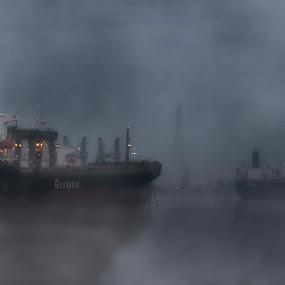 Mississippi river morning traffic by Brook Kornegay - Transportation Boats ( fog, ship, boat, mississippi, river,  )