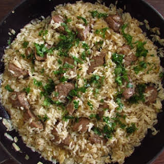 Fried Veal With Rice.