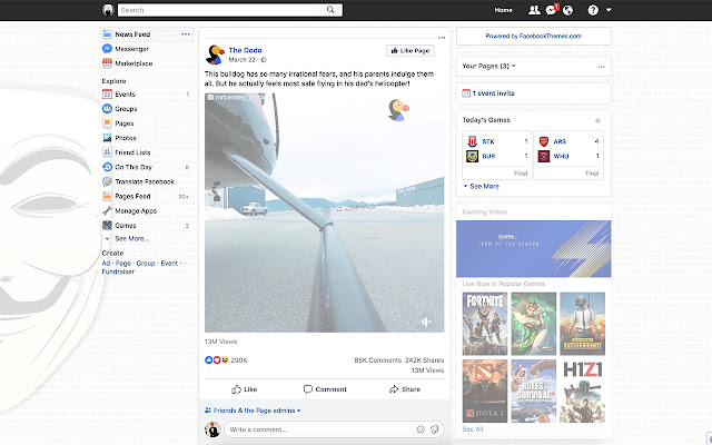 Anonymous Theme for Facebook