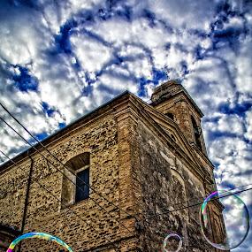the church & bubbles by Frans Scherpenisse - Uncategorized All Uncategorized ( sky, church, bubbles, iotaly, lines,  )