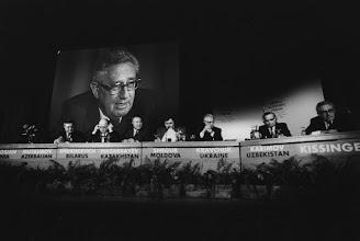 "Photo: DAVOS/SWITZERLAND, JAN 1992 - Henry Kissinger, former US Secretary of State chairing a panel session on ""The New Partners"" with Presidents (fltr)  Ayaz Mutalibov of Azerbaijan; Stanislav Shushkevich, Chairman of the Supreme Soviet of Belarus; Nursultan Nazarbayev of Kazakhstan; Mircea Snegur of Moldova; Leonid Kravchuk of Ukraine; Islam Karimov of Uzbekistan at the Annual Meeting of the World Economic Forum in Davos in 1992. Copyright <a href=""http://www.weforum.org"">World Economic Forum</a> (<a href=""http://www.weforum.org"">http://www.weforum.org</a>)"