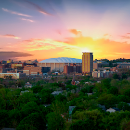 The Carrier Dome of Syracuse University by Steve Friedman - City,  Street & Park  Vistas ( sunset clouds buildings trees green,  )