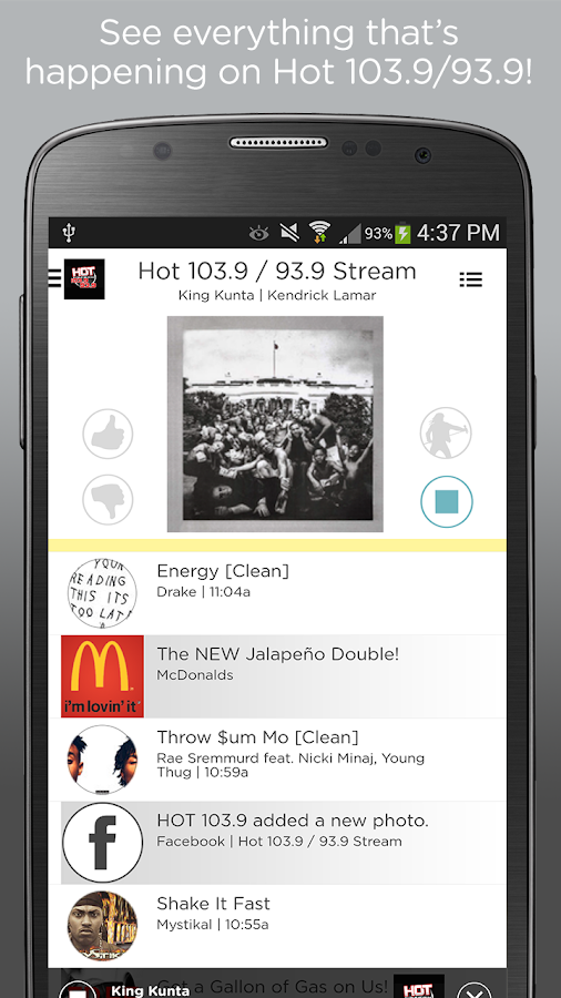 Hot 103.9 / 93.9- screenshot