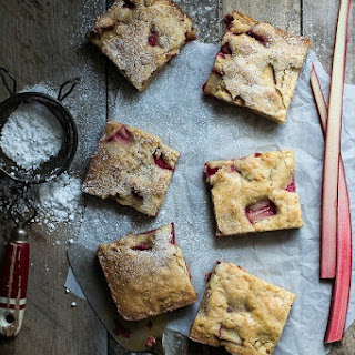 Rhubarb and White Chocolate Blondies.