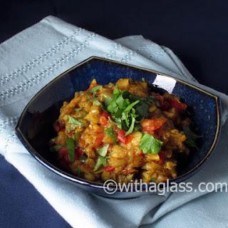 Indian Mashed Stir-fried Aubergine (almost Baigan ka Bharta)