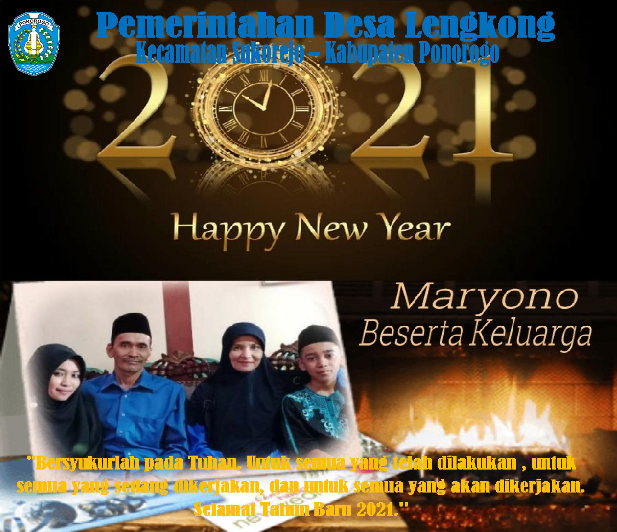 Pemerintahan Desa Lengkong Kecamatan Sukorejo – Kabupaten Ponorogo Mengucapkan : Selamat Tahun Baru 2021