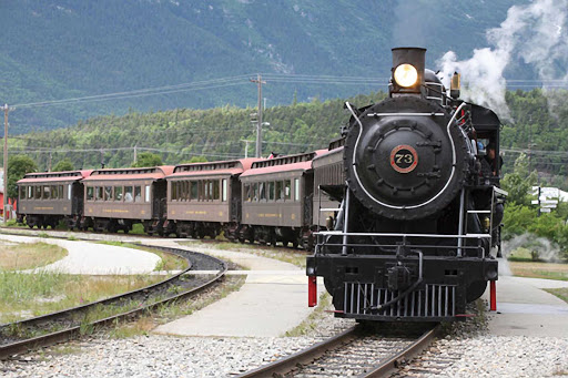 Skagway-White-Yukon-Railroad.jpg -  Reach the Yukon Railroad through American Cruise Lines and ride the White Pass to enjoy panoramic views of Alaska.