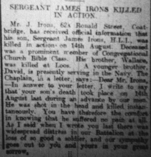 James Irons newspaper clipping