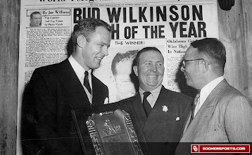 Photo: Wilkinson accepting Coach of the Year honors in New York, January 12, 1950. Joined by Joe Williams (center), sports columnist for the New York World Telegram, and Dutch Meyer (right) TCU head coach and President of the National Football Coaches Association.