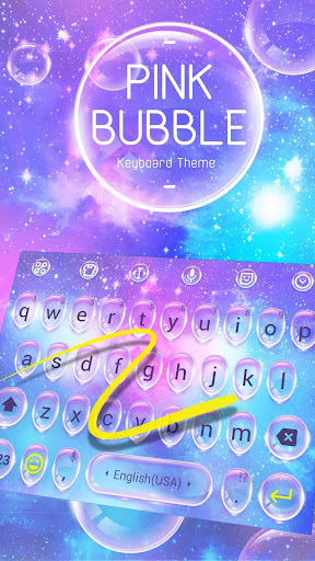 Pink Water Bubble Drop Keyboard Theme & Emoji for PC