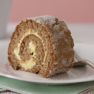 Spiced Jelly Roll Cake with Honey Buttercream Filling.