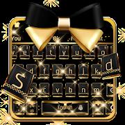 Luxury black gold keyboard icon