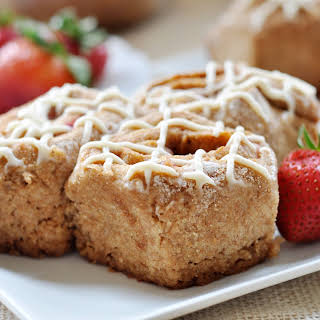 Vegan Strawberry Spelt Cinnamon Rolls with Cream Cheese Frosting.