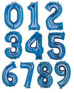 Folieballong siffra, blå