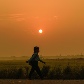 Heading toward bright future by Bishal Ranamagar - People Street & Candids ( dawn, school, children, morning, education,  )