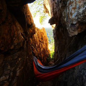 Hammock in a cave by Seth Parkinson - Landscapes Caves & Formations ( beautiful, fun, view, cave, hammock )