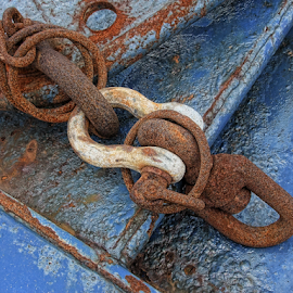 Rusty Chain by Gwen Paton - Artistic Objects Industrial Objects ( rust, chain, blue,  )
