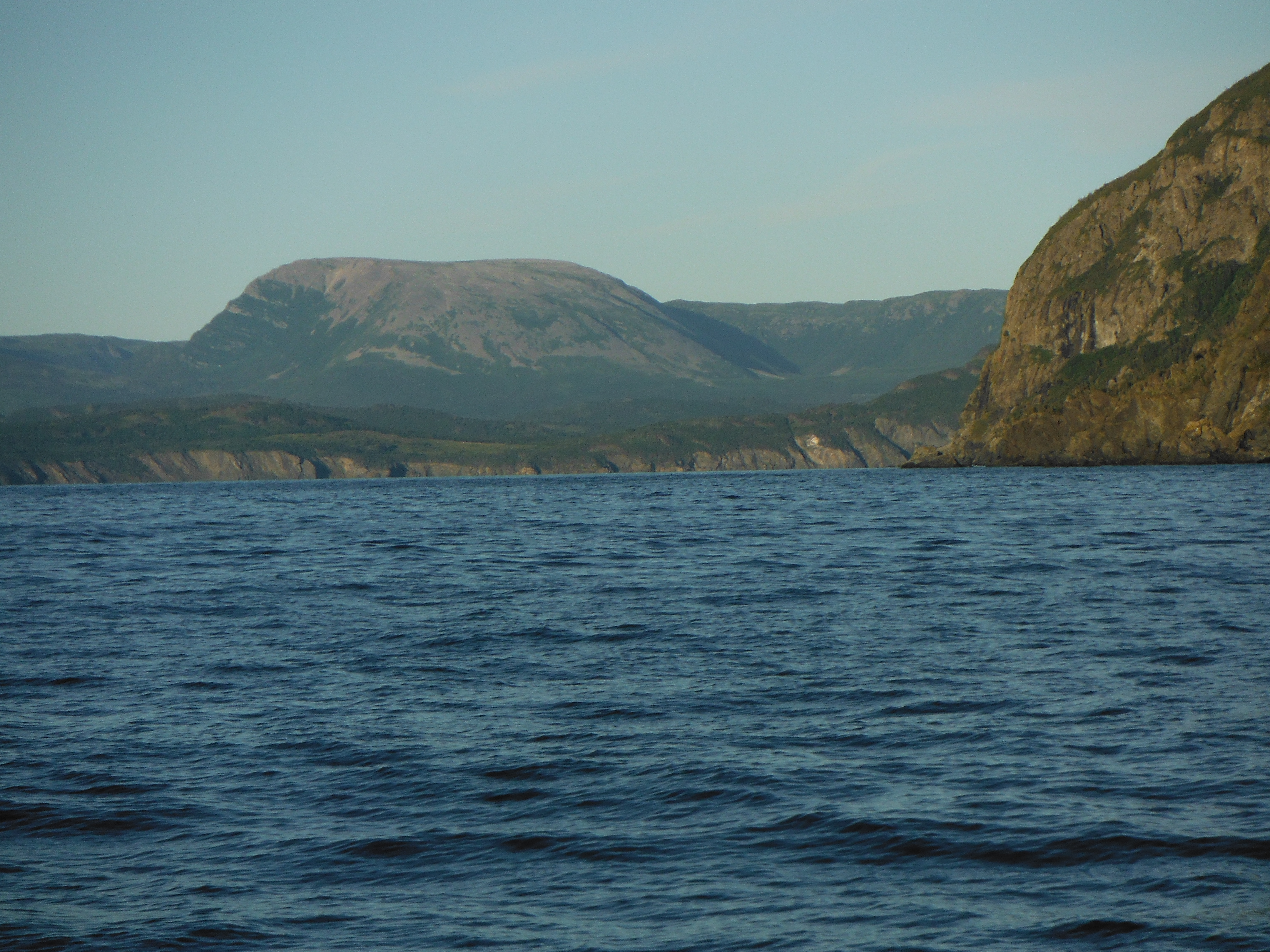 Photo: Gros Morne, the highest point in Newfoundland, from the Gulf of St. Lawrence.