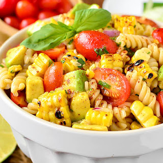 Grilled Corn and Avocado Pasta Salad with Chili-Lime Dressing.