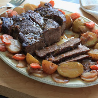Pot Roast with Potatoes, Carrots and Parsnips.