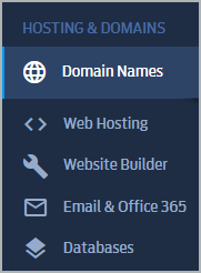 Under Hosting & Domains, Domain Names is selected.