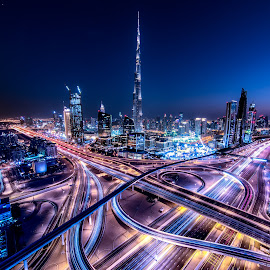 City of the Future by Sebastian Tontsch - City,  Street & Park  Skylines ( dubai, nighttime, uae, cityscape, burj khalifa, longexposure )