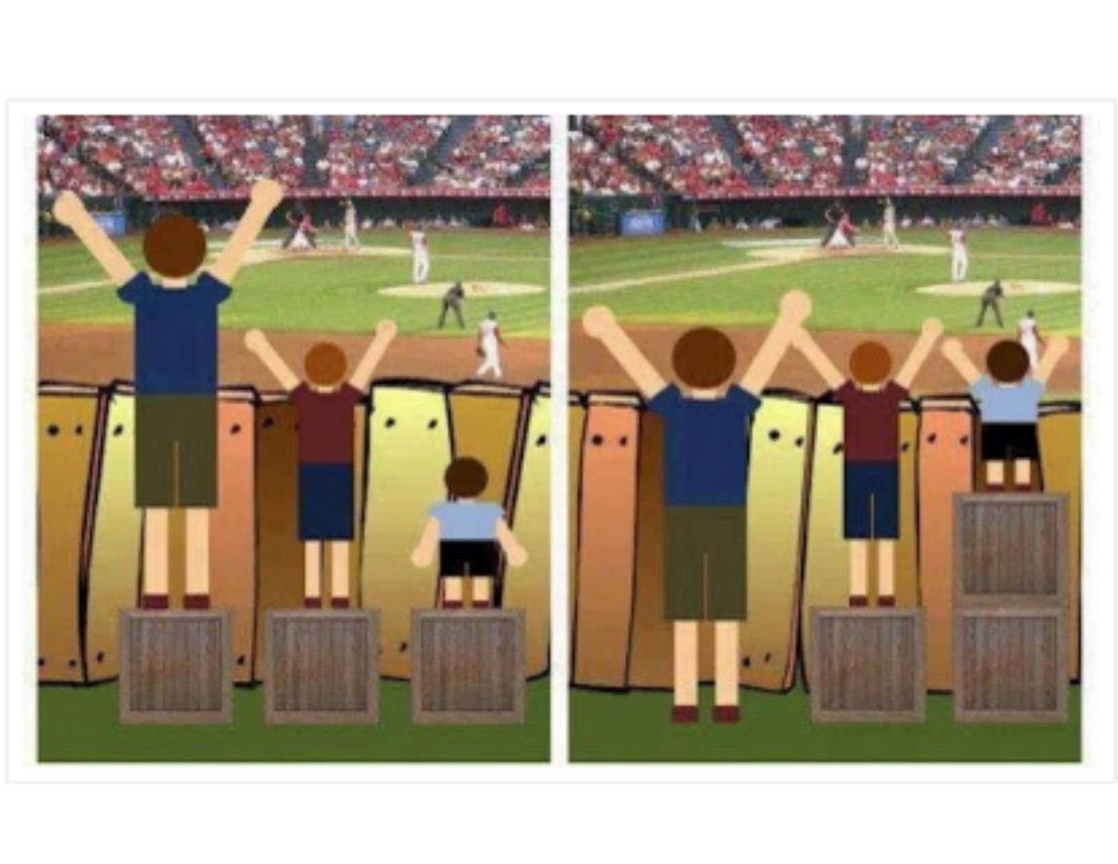 visual example of equitable treatment with viewing a baseball game