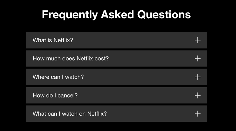 A screenshot of Netflix landing page with frequently asked questions.