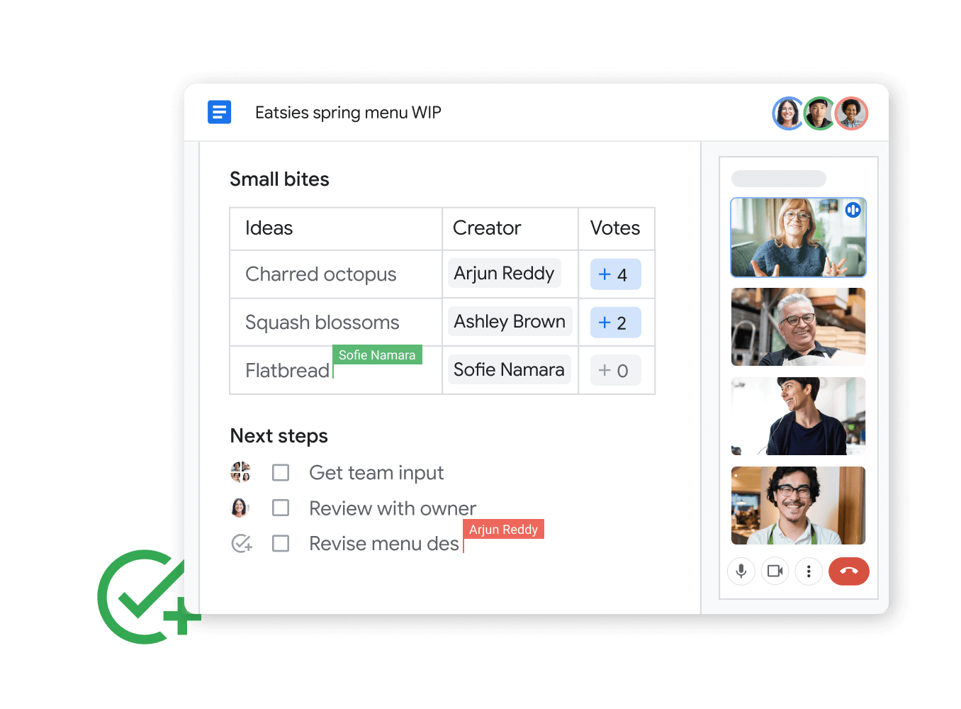 Workspace illustrative graphic - teammates share and edit google sheets seemlessly with google chat