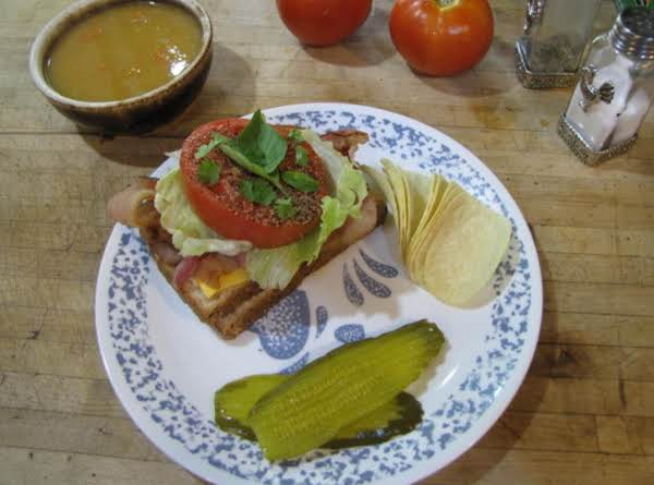 Blt With Fresh Basil And Cilantro.  Served With Your Favorite Soup, This Makes A Delicious Meal!