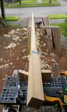 Photo: Shaping the main mast from eight sided to sixteen sided.