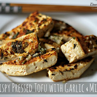 Crispy Pressed Tofu with Garlic and Mint.