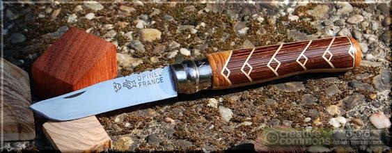 Photo: Opinel custom n°053 Wengé, olivier. http://opinel-passions-bois.blogspot.fr/ Personnalisations en marquèterie de bois précieux, cornes, résines et aluminium du couteau pliant de poche de la célèbre marque Savoyarde Opinel.