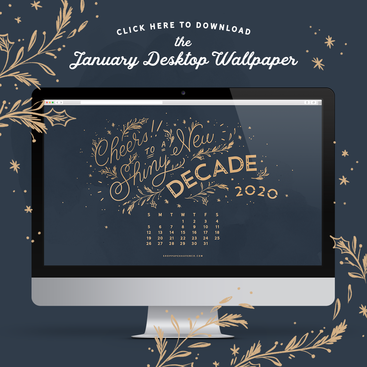 January 2020 Illustrated Desktop Wallpaper by Paper Raven Co. | www.ShopPaperRavenCo.com | #dressyourtech #desktopwallpaper #desktopdownload