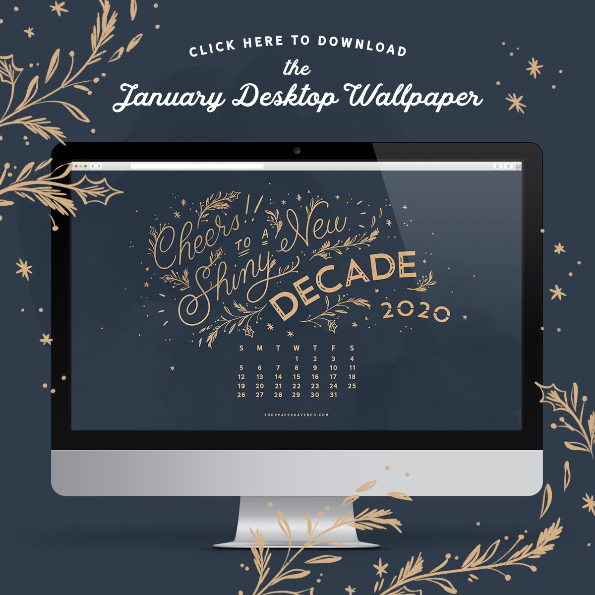 January 2020 Illustrated Desktop Wallpaper by Paper Raven Co. | www.ShopPaperRavenCo.com | #dressyourtech #desktopwallpaper #desktopdownload