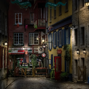 Ready For Business by John Finch - City,  Street & Park  Street Scenes ( cafe, lamps, street, stone pavement, night shots, night scene, night life, stone street )