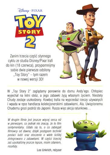Tył ulotki filmu 'Toy Story 2 3D'