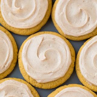 Pumpkin Sugar Cookies with Cinnamon Cream Cheese Frosting.