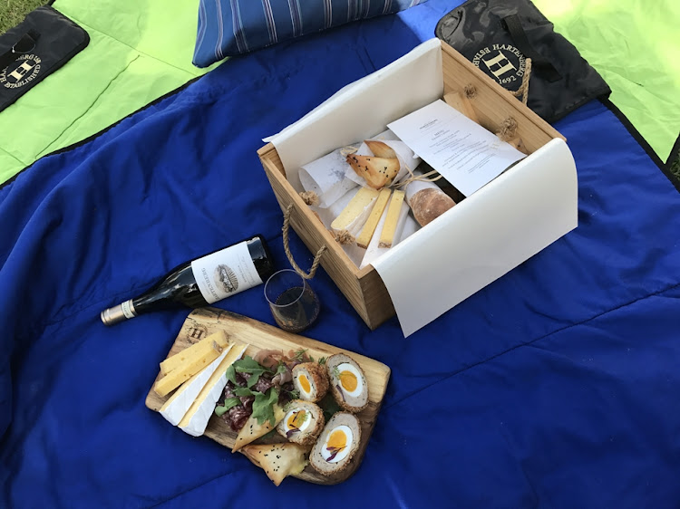 Hartenberg picnic baskets feature a variety of gourmet treats.