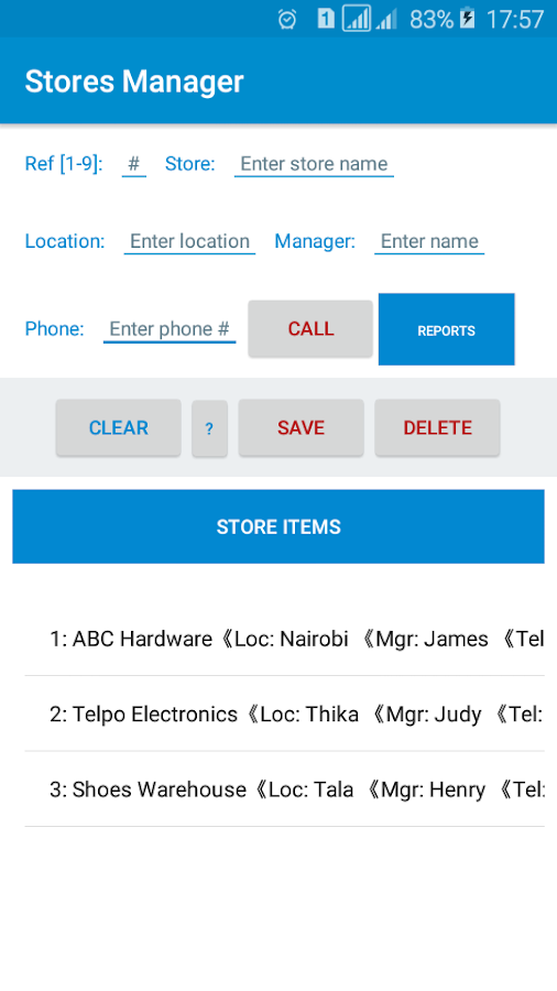 Stores Manager- screenshot