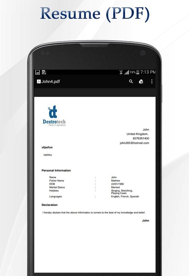 job cv maker screenshot