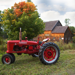 :: beginning to look like fall :: by April Brown - Transportation Other ( farm, field, formal, red, barn, fall, tractor )