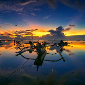 Blue Boat by Bayu Adnyana - Transportation Boats ( bali, tuban, landscape photography, traditional, seascape, beach, transportation, landscape, boat )