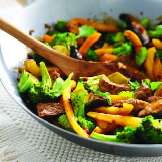 Stir-fried Ginger Beef With Broccoli.