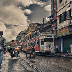 kolkata street in monsoon by  Bivahasutra Wedding Photography - City,  Street & Park  Street Scenes