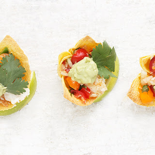 Fish Taco Appetizers with Avocado Crema.