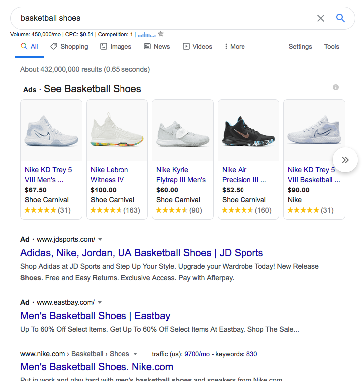 basketball shoes ppc search example