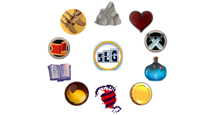 10 icons for board game designers to use for their games in a circle around the Streamlined Gaming logo
