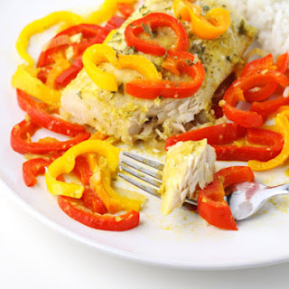 Coconut Curry Mahi Mahi with Peppers.