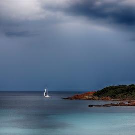 Douceur bleue by Sylvie Pierrat - Landscapes Waterscapes ( ciel, mer, bateau, nleu, corse )